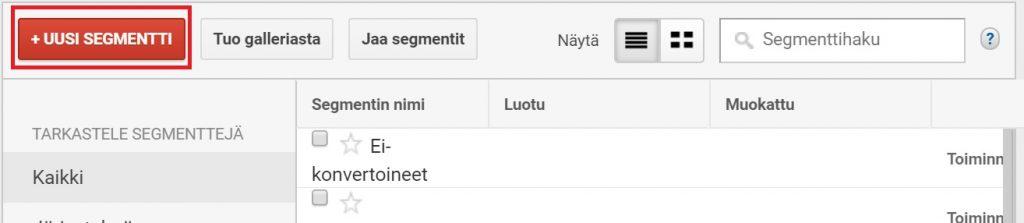 Google analytics uusi segmentti kävijäseuranta