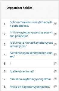 Google analytics aloitussivut välittömän poistumisprosentin perusteella kävijäseuranta