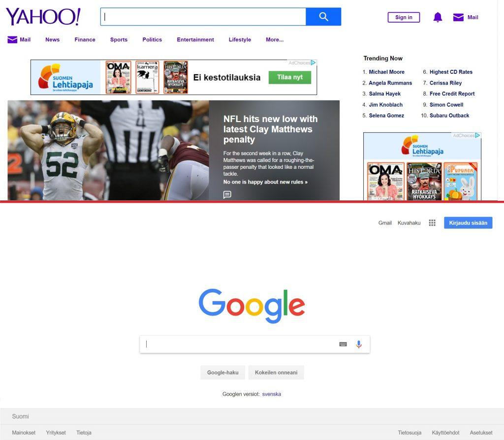 Yahoon ja Googlen käytettävyys