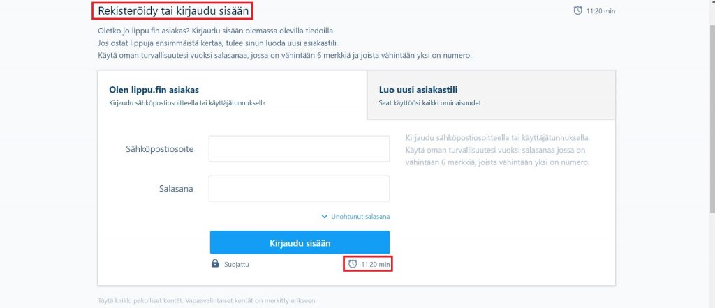 Lippu.fi pakko kirjautua